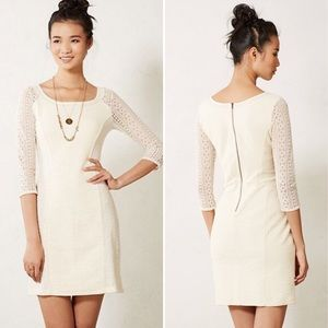 Anthropologie Bordeaux Cream Lace Dress sz. SP